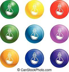 chimique, flacon, ensemble, vecteur, icônes