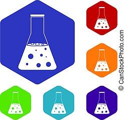 chimique, flacon, hexagone, ensemble, icônes