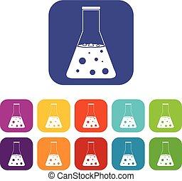 chimique, flacon, icônes, ensemble, plat