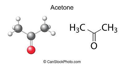 chimique, formule, acetone