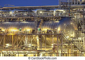 chimique, géant, récipient, usine