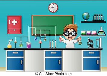 chimique, garçon, expérience, dessin animé, laboratoire