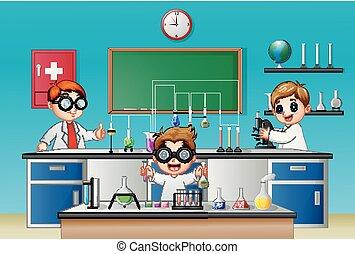 chimique, garçon, expérience, trois, laboratoire