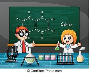 chimique, garçon, girl, expérience