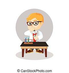 chimique, garçon, scientifique, combiner