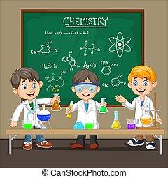 chimique, garçon, scientifique, expérience, groupe