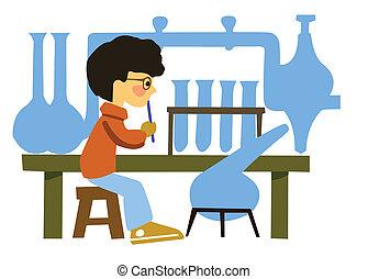chimique, garçon, vecteur, portrait, laboratoire