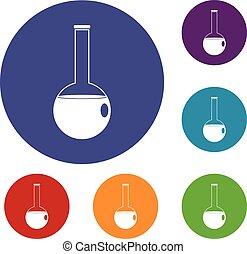 chimique, gobelet, ensemble, icônes