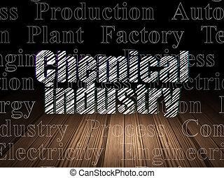 chimique, grunge, salle, industrie, sombre, concept:
