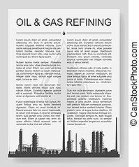 chimique, huile, ou, silhouette, raffinerie, plante, essence
