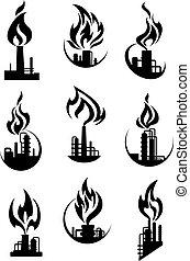 chimique, industriel, noir, usine, icônes