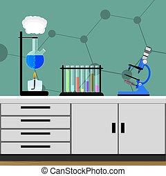 chimique, laboratoire, expérience