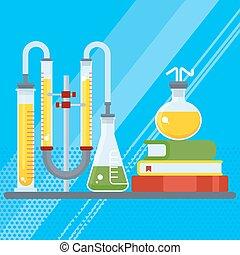 chimique, laboratoire, livre