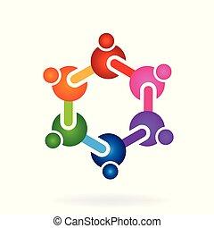 chimique, laboratoire, symbole, gens, logo