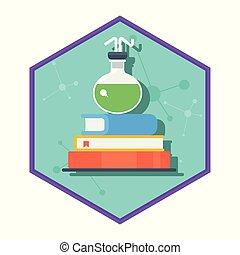 chimique, laboratoire, tube, livre
