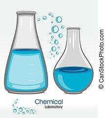 chimique, laboratory., étiquette