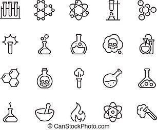 chimique, ligne, icônes