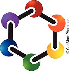 chimique, logo, symbole, molécule, atome
