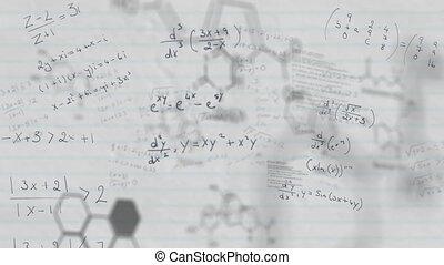chimique, mathématique, contre, blanc, structures, papier, revêtu, équations