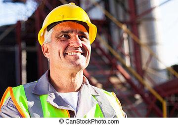 chimique, milieu, industrie, vieilli, ouvrier