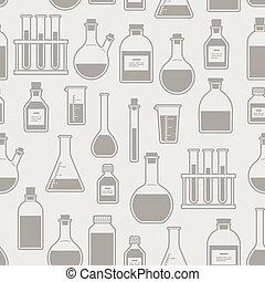 chimique, modèle, verrerie, seamless