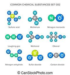 chimique, moléculaire, structures, commun, substances