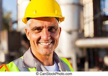 chimique, personne agee, ouvrier huile