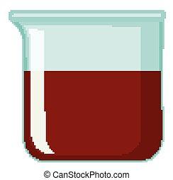 chimique, rouges, gobelet, rempli