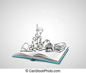 chimique, science, icônes, doodles, laboratoire