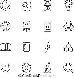 chimique, scientifique, laboratoire science, symboles, équipement, produits chimiques, vecteur, mince, laboratoire, icon., structure