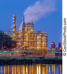 chimique, soir, industrie