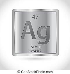 chimique, symbole, carrée, argent, icône