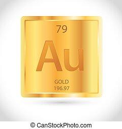 chimique, symbole, carrée, or, icône