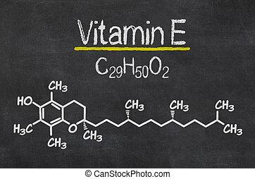 chimique, tableau noir, e, vitamine, formule