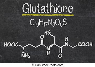 chimique, tableau noir, glutathione, formule