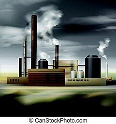 chimique, usine, fumée