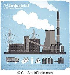 chimique, usine, gabarit