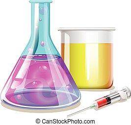 chimique, verre, vases bec