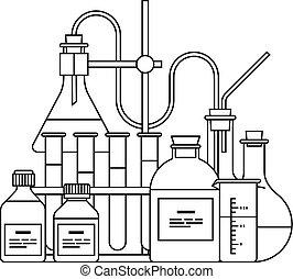 chimique, verrerie, icône