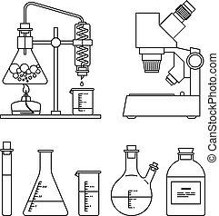 chimique, verrerie, set., icônes