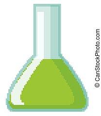 chimique, vert, rempli, flacon