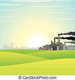 chimique, vert, usine, pré