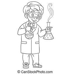 chimiste, expérience, confection, chimique