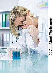 chimiste, gai, femme, pharmacien