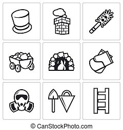 Chimney and heating coal icons set. Vector Illustration.