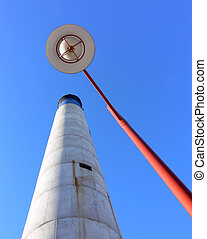 Chimney and Lamp Post - Shot of a white, blue and black ...