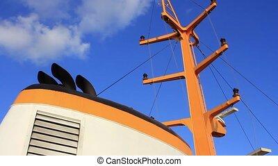 Chimney and mast of vintage diesel - Ship radar navigation...