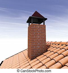 Illustration 3D, A chimney on top of a tiled roof