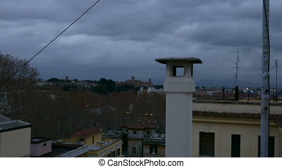 Chimney Cap, roof - Chimney Cap, at dawn in Rome