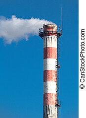 chimney, concrete, smoke, stripes